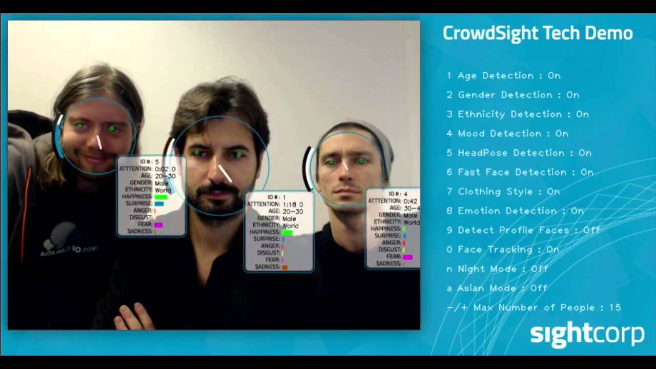 CrowdSight Tech demo - Crowd Face Analysis Software