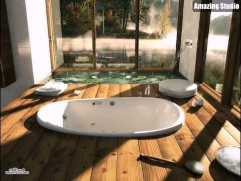 Houzz Holz Bad Mit Versunkene Wanne Und Indoor Wasserspiel Teich