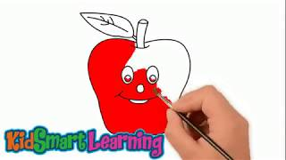 Drawing and coloring apple for kids with KidsSmart Learning