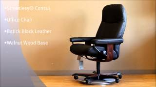 Stressless Consul Office Chair In Batick Black Leather And Walnut Wood Base By Ekornes
