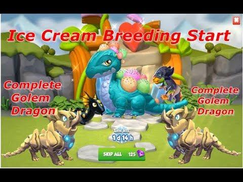 Ice Cream Dragon Breeding Start-Dragon Mania Legends | Golem Dragon Complete | BRAIN FREEZE