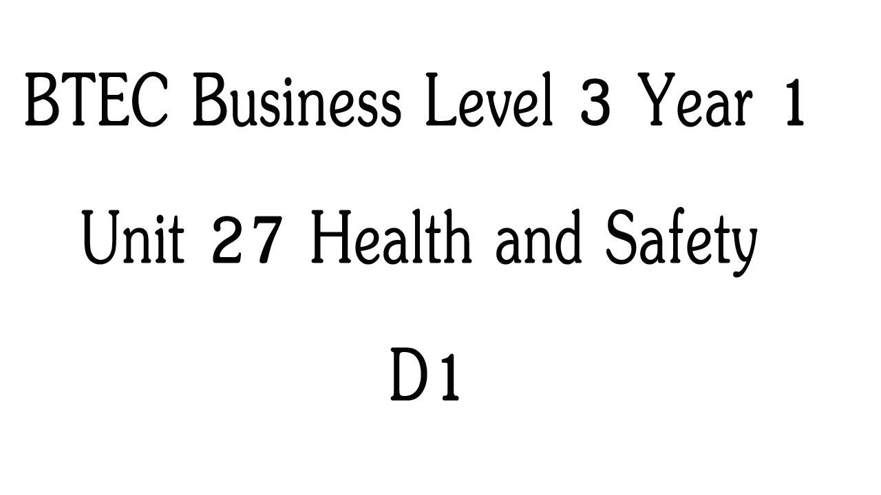 BTEC level 3 business unit 27 M1