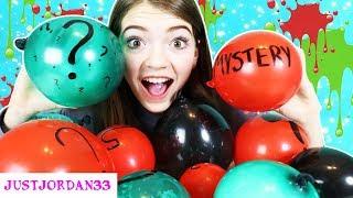 MYSTERY BALLOON SLIME!  Making CHRISTMAS SLIME with BALLOONS! / JustJordan33