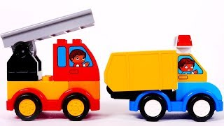 Learn Colors with Fire Truck and Dump Truck Building Blocks Vehicles for Kids