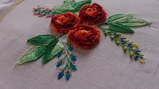 Hand embroidery designs. Chain and bullion stitch roses. Brazilian embroidery.