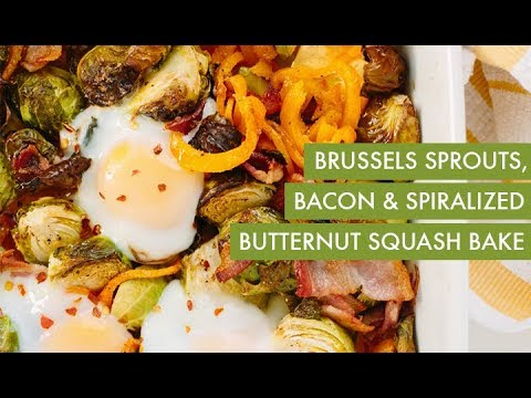 Brussels Sprouts Bacon Spiralized Butternut Squash Bake I Spiralizer Recipe