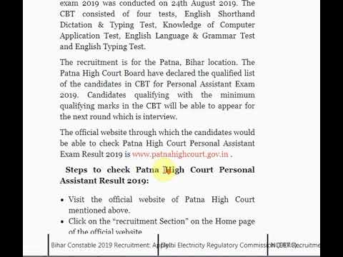Patna High Court Personal Assistant 2019 Result Released on patnahighcou...