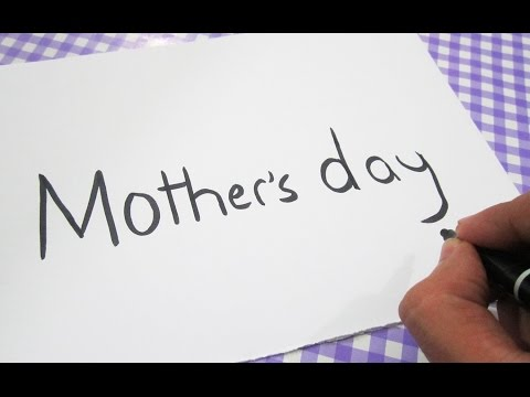 How to turn words MOTHER'S DAY into a Cartoon ! Learn drawing art on paper for kids