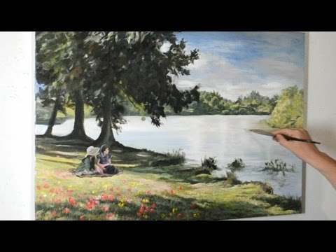 Landscape Painting – My Kids Sat on a Riverbank