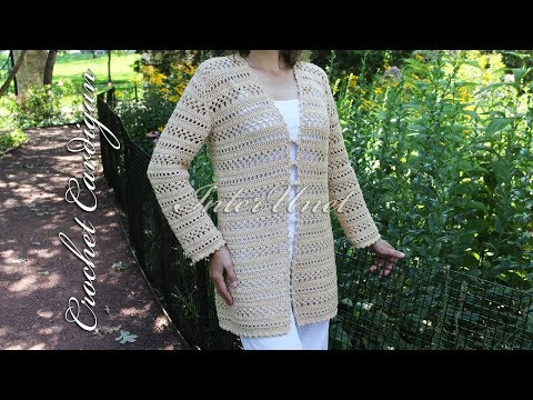 Long cardigan with sleeves – jacket crochet pattern