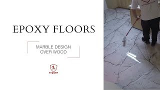 Metallic Epoxy Coating | Marble Design over Wood Sub-floor Tutorial
