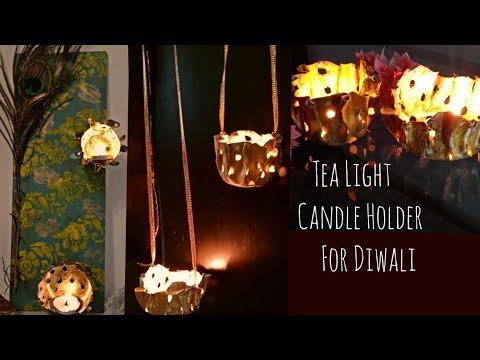 DIY Tealight candle holder/ Gold candle holder /Diwali Decor/ Hanging diya