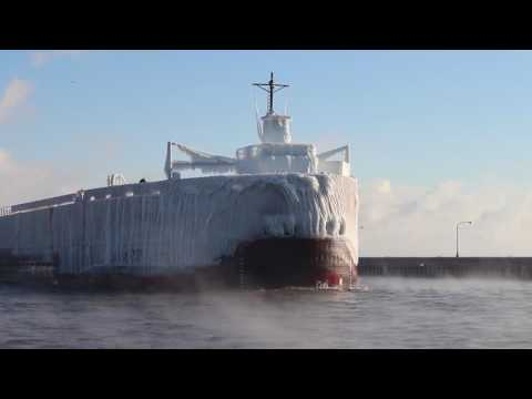 Ice-coated ship enters Duluth canal