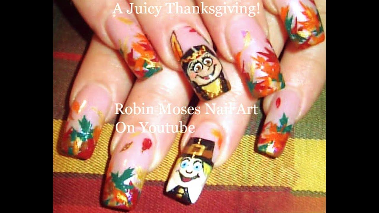 Diy Thanksgiving Nails Fun Juicy Fall Leaves Nail Design Tutorial Youtube