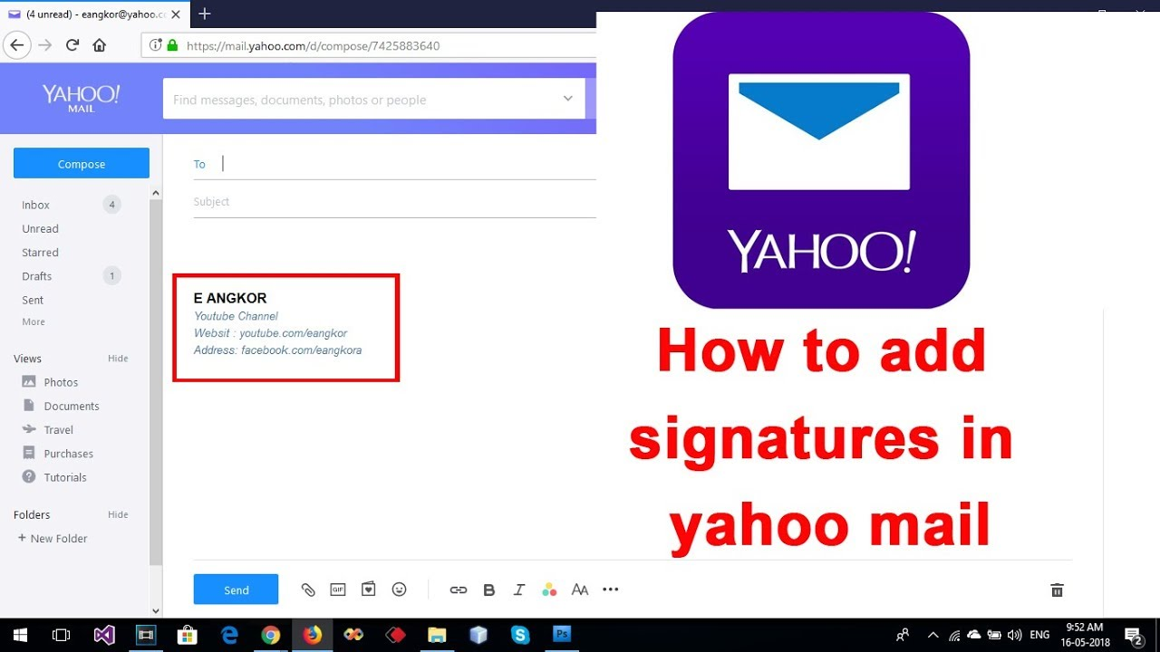 add signature in yahoo mail as a image