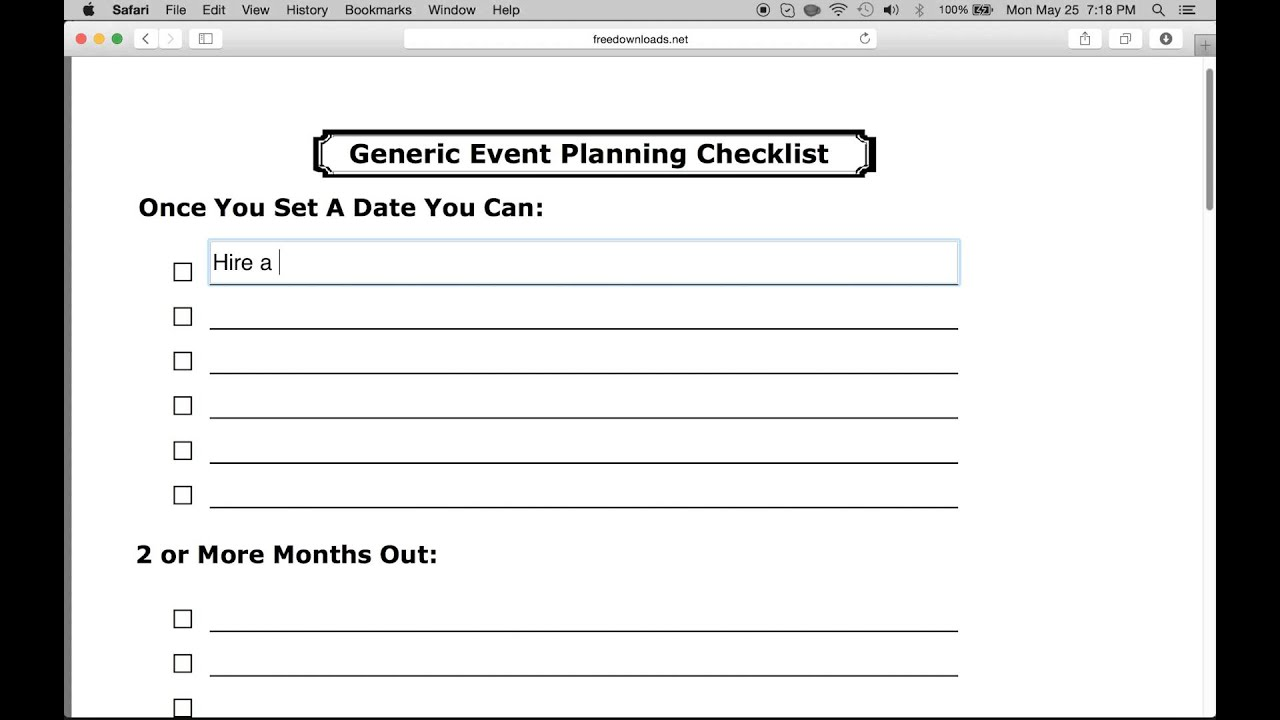 create a simple event planning checklist youtube