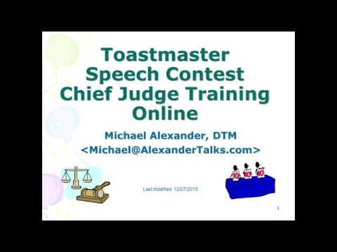 Toastmaster Online Chief Judge Training