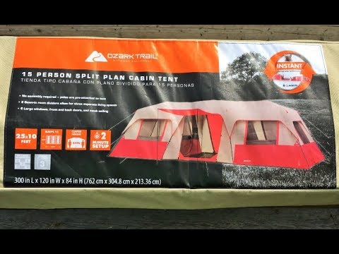 Ozark Trail 15 Person 3 Room Split Plan Cabin Tent FULL SET UP & TAKE DOWN