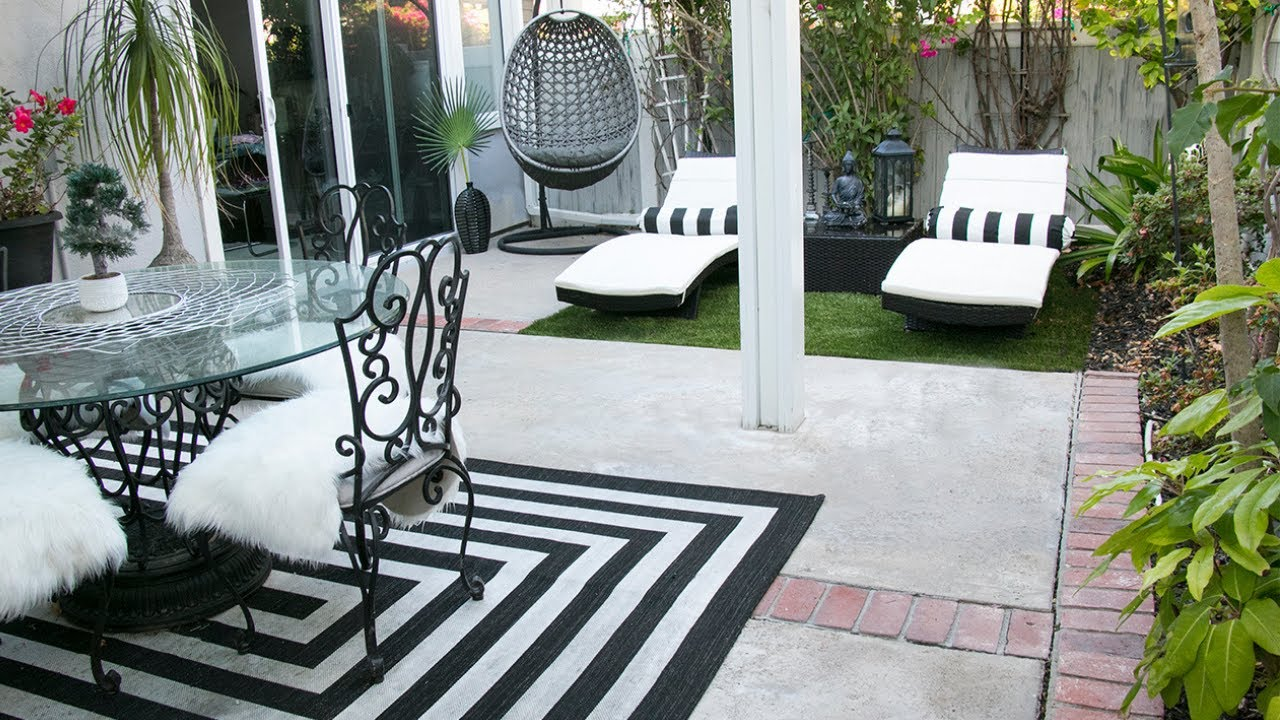 Black White Patio Decor Ideas - Easy Makeover TIPS! - YouTube on Backyard Deck Decor id=95923
