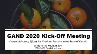 October 2020 GAND Meeting ft. GAND President Carley Rusch, MS, RDN, LDN