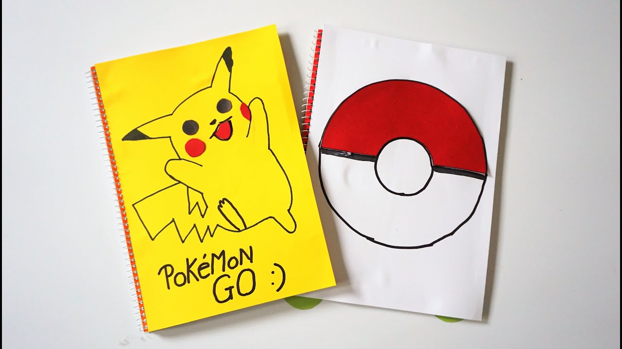Book Cover Forros You Tube : Pokemon go to school notebook cover diy youtube