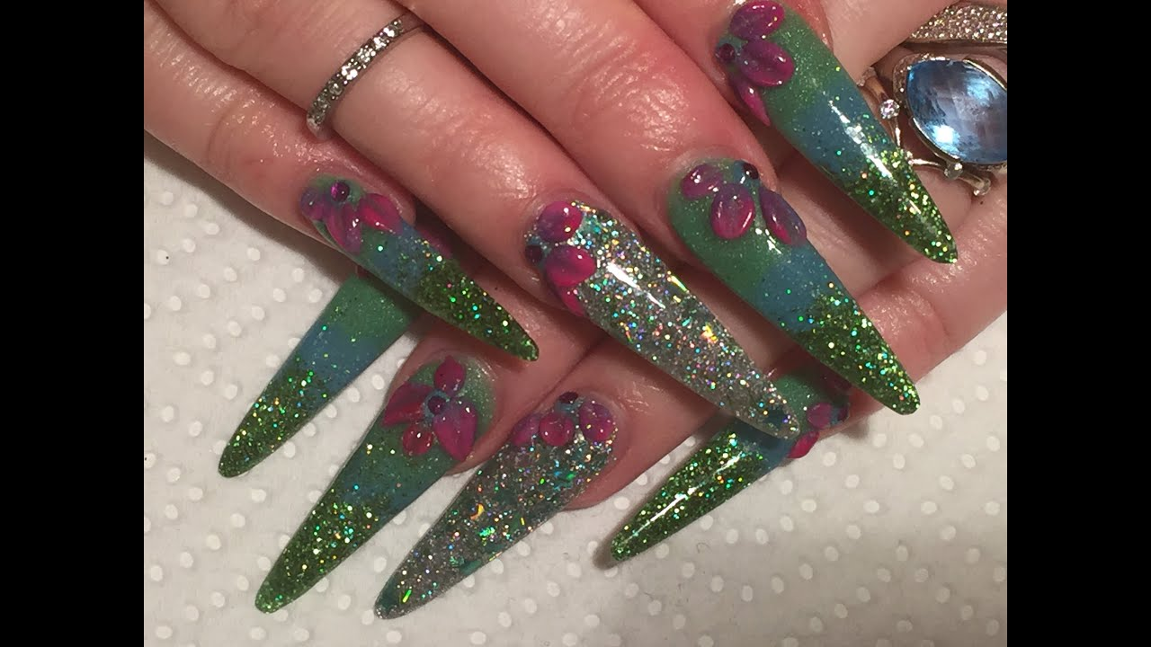 Acrylic nails how-to long stiletto sculpted green glitter ...