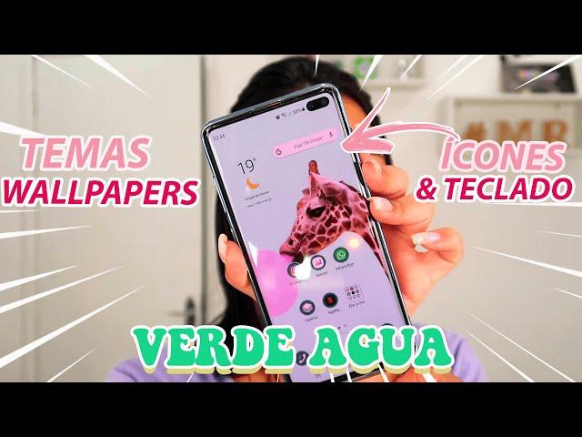 PERSONALIZAÇÃO COMPLETA NO CELULAR!! TONS DE VERDE ÁGUA!! *temas,wallpapers,teclado e ícones*