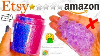 BUYING THE WORST RATED ETSY AND AMAZON SLIMES! *scammed again*