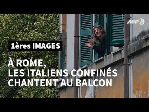 À Rome, les Italiens confinés chez eux à cause du coronavirus chantent au balcon | AFP Images