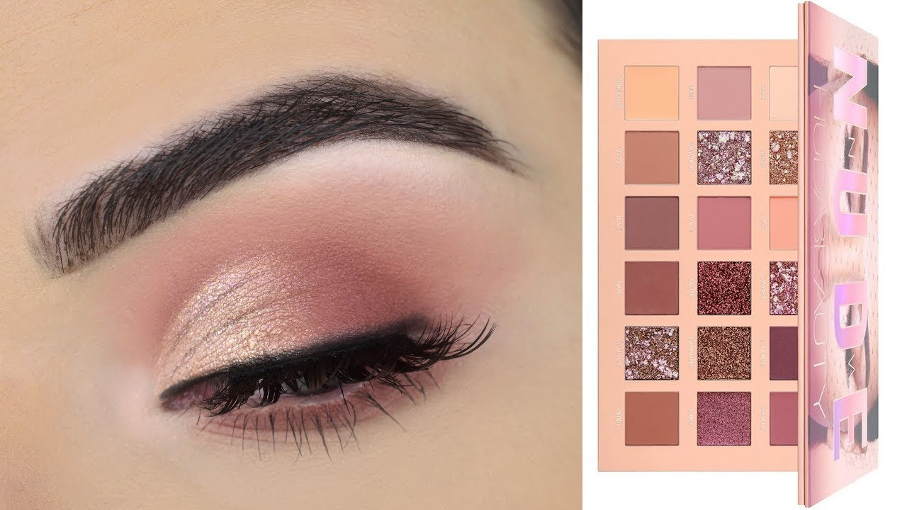Huda Beauty New Nude Eyeshadow Palette Soft Eye Makeup Tutorial
