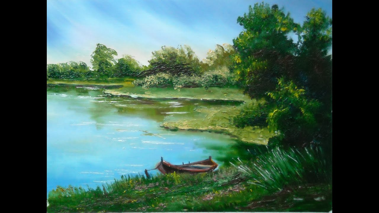 Oil painting by lana kanyo lake view youtube for Photos to paint