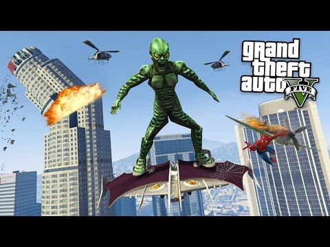 "SPIDERMAN'S ""GREEN GOBLIN"" MOD w/ GOBLIN GLIDER!! (GTA 5 Mods)"