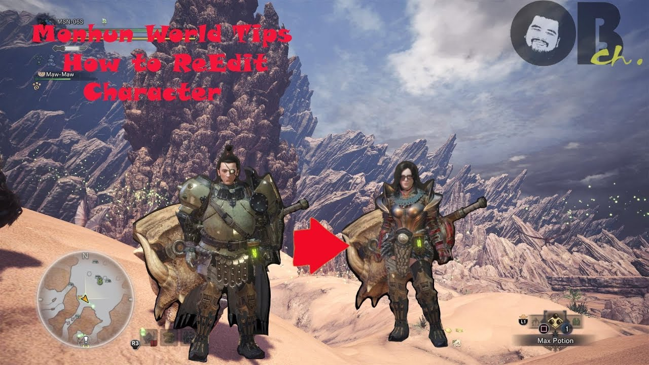 Monhun World Tips / How to re edit Character MHW Obch