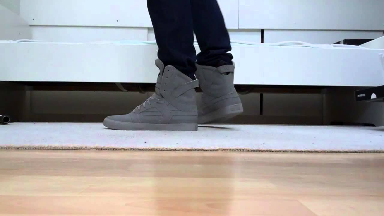 73be7a554b Supra Skytop 2 II grey unboxing on feet - YouTube