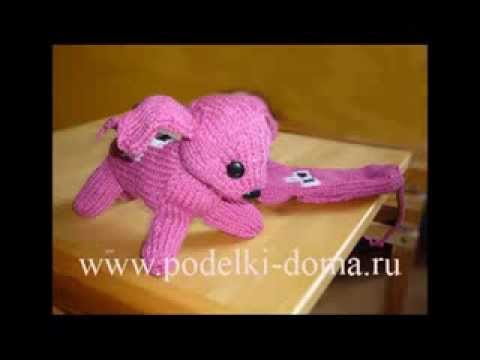 вязание игрушек собачка спицами из мультфильма варежка Youtube