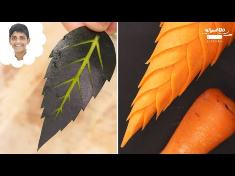 Carrot Leaf | Watermelon Leaf | Vegetable Carving | Fruit Carving | Tutorial 35