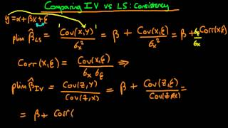Consistency - comparing Ordinary Least Squares with Instrumental Variables