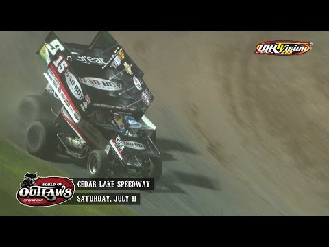 Highlights: World of Outlaws Sprint Cars Cedar Lake Speedway July 11th, 2015