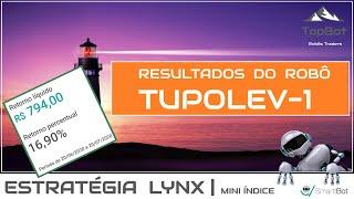 Resultados do robô TUPOLEV-1 da estratégia LYNX ( 1 mês de operações )