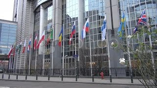 European Parliament State Flag Council Street Day Flag Union Brussels, Belgium. Stock Footage