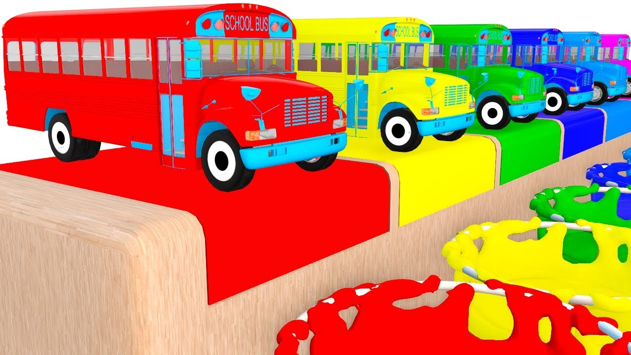 Colors With School Buses & Cars Train Toys