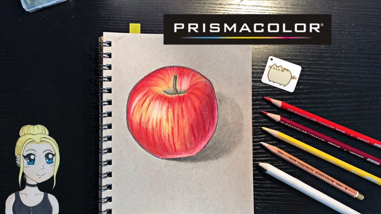 How to draw a realistic apple prismacolor colored pencils
