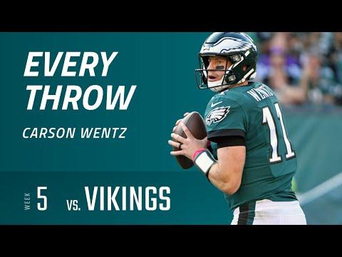 Every Throw - Carson Wentz vs. Minnesota Vikings (Week 5, 2018)