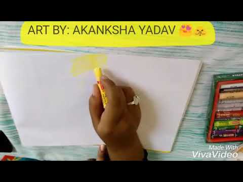 HOW TO DRAW sunset🌞 Ft. Moonlight 🌝 Scenery With OIL PASTELS ... BY: AKANKSHA YADAV 😍🙏