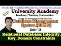 L16: Relational Database| Integrity Constraints| Key Constraints| Domain Constraints| Entity DBMS