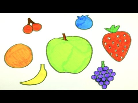 Drawing Fruits | Kids Coloring Page | Learning the Colors ...  Drawing Fruits ...