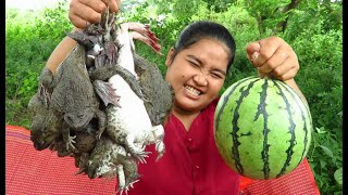 Yummy Cooking  Steamed big Frog In Watermelon recipe & My Cooking skill