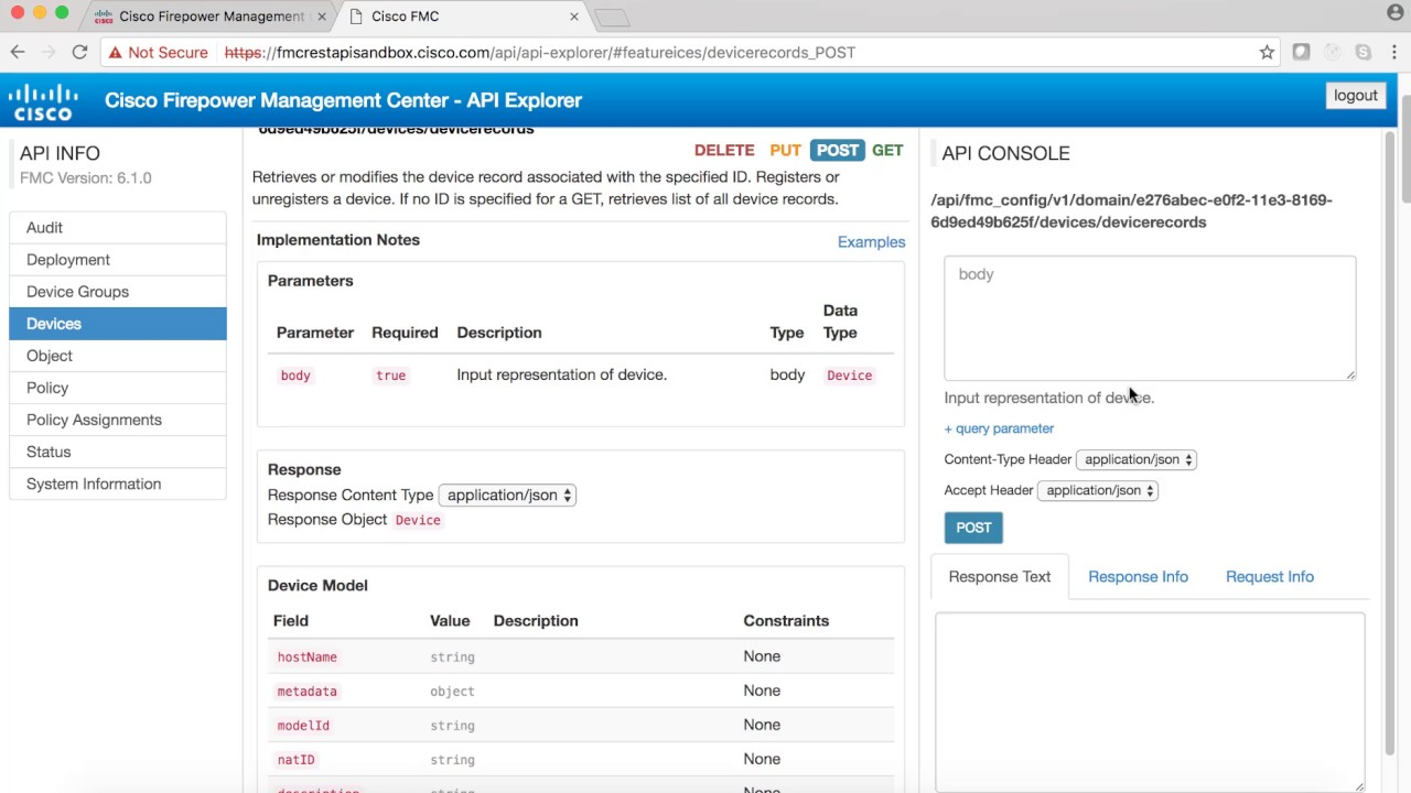NGFW or Firepower Device/Sensor registration with Cisco FMC using REST APIs