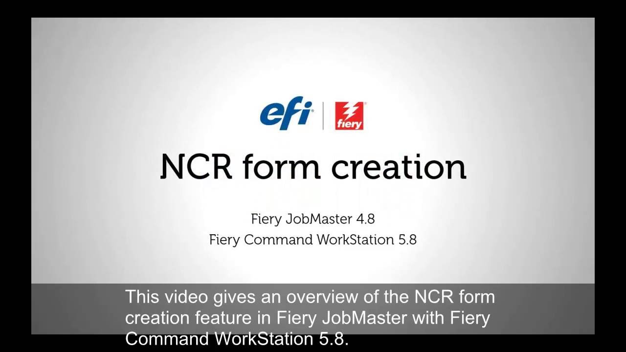 Fiery JobMaster NCR Form Creation