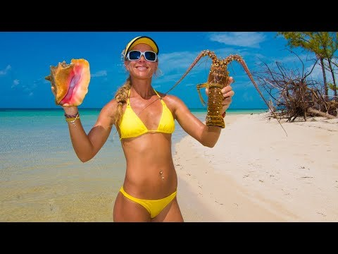 Catch and Cook Lobster & Conch on a DESERTED ISLAND! Cooked on the Beach!